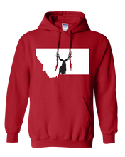 Load image into Gallery viewer, Pullover Hooded Sweatshirt Montana Red Mule Deer Vibrant Design High Quality Tight Knit Ring Spun Low Maintenance Cotton Printed With The Newest Available Color Transfer Technology
