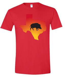 Short Sleeve T-Shirt Texas Red Wild Hog Vibrant Design High Quality Tight Knit Ring Spun Low Maintenance Cotton Printed With The Newest Available Color Transfer Technology