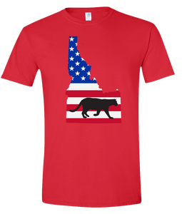 Short Sleeve T-Shirt Idaho Red Mountain Lion Vibrant Design High Quality Tight Knit Ring Spun Low Maintenance Cotton Printed With The Newest Available Color Transfer Technology