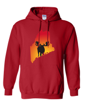 Load image into Gallery viewer, Pullover Hooded Sweatshirt Maine Red Moose Vibrant Design High Quality Tight Knit Ring Spun Low Maintenance Cotton Printed With The Newest Available Color Transfer Technology