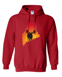 Pullover Hooded Sweatshirt Maine Red Moose Vibrant Design High Quality Tight Knit Ring Spun Low Maintenance Cotton Printed With The Newest Available Color Transfer Technology