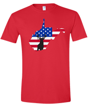 Load image into Gallery viewer, Short Sleeve T-Shirt West Virginia Red Whitetail Deer Vibrant Design High Quality Tight Knit Ring Spun Low Maintenance Cotton Printed With The Newest Available Color Transfer Technology