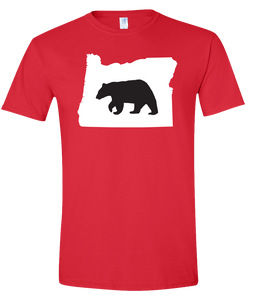 Short Sleeve T-Shirt Oregon Red Black Bear Vibrant Design High Quality Tight Knit Ring Spun Low Maintenance Cotton Printed With The Newest Available Color Transfer Technology