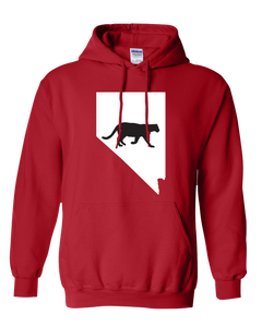 Pullover Hooded Sweatshirt Nevada Red Mountain Lion Vibrant Design High Quality Tight Knit Ring Spun Low Maintenance Cotton Printed With The Newest Available Color Transfer Technology