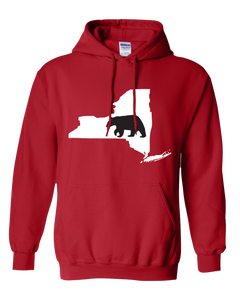 Pullover Hooded Sweatshirt New York Red Black Bear Vibrant Design High Quality Tight Knit Ring Spun Low Maintenance Cotton Printed With The Newest Available Color Transfer Technology