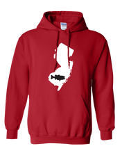 Load image into Gallery viewer, Pullover Hooded Sweatshirt New Jersey Red Large Mouth Bass Vibrant Design High Quality Tight Knit Ring Spun Low Maintenance Cotton Printed With The Newest Available Color Transfer Technology