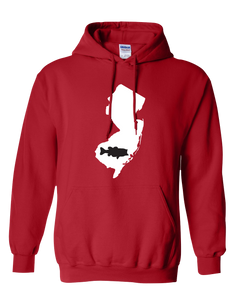 Pullover Hooded Sweatshirt New Jersey Red Large Mouth Bass Vibrant Design High Quality Tight Knit Ring Spun Low Maintenance Cotton Printed With The Newest Available Color Transfer Technology