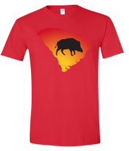 Load image into Gallery viewer, Short Sleeve T-Shirt South Carolina Red Wild Hog Vibrant Design High Quality Tight Knit Ring Spun Low Maintenance Cotton Printed With The Newest Available Color Transfer Technology