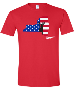 Short Sleeve T-Shirt New York Red Whitetail Deer Vibrant Design High Quality Tight Knit Ring Spun Low Maintenance Cotton Printed With The Newest Available Color Transfer Technology