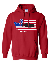 Load image into Gallery viewer, Pullover Hooded Sweatshirt Washington Red Large Mouth Bass Vibrant Design High Quality Tight Knit Ring Spun Low Maintenance Cotton Printed With The Newest Available Color Transfer Technology