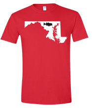 Load image into Gallery viewer, Short Sleeve T-Shirt Maryland Red Large Mouth Bass Vibrant Design High Quality Tight Knit Ring Spun Low Maintenance Cotton Printed With The Newest Available Color Transfer Technology