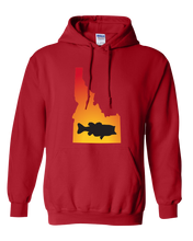 Load image into Gallery viewer, Pullover Hooded Sweatshirt Idaho Red Large Mouth Bass Vibrant Design High Quality Tight Knit Ring Spun Low Maintenance Cotton Printed With The Newest Available Color Transfer Technology