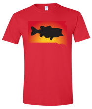 Load image into Gallery viewer, Short Sleeve T-Shirt South Dakota Red Large Mouth Bass Vibrant Design High Quality Tight Knit Ring Spun Low Maintenance Cotton Printed With The Newest Available Color Transfer Technology