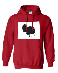 Pullover Hooded Sweatshirt Wyoming Red Turkey Vibrant Design High Quality Tight Knit Ring Spun Low Maintenance Cotton Printed With The Newest Available Color Transfer Technology