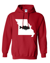 Load image into Gallery viewer, Pullover Hooded Sweatshirt Missouri Red Large Mouth Bass Vibrant Design High Quality Tight Knit Ring Spun Low Maintenance Cotton Printed With The Newest Available Color Transfer Technology