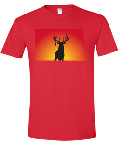 Short Sleeve T-Shirt North Dakota Red Whitetail Deer Vibrant Design High Quality Tight Knit Ring Spun Low Maintenance Cotton Printed With The Newest Available Color Transfer Technology