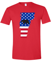 Load image into Gallery viewer, Short Sleeve T-Shirt Vermont Red Black Bear Vibrant Design High Quality Tight Knit Ring Spun Low Maintenance Cotton Printed With The Newest Available Color Transfer Technology