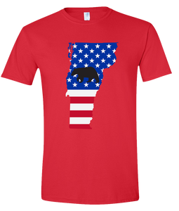 Short Sleeve T-Shirt Vermont Red Black Bear Vibrant Design High Quality Tight Knit Ring Spun Low Maintenance Cotton Printed With The Newest Available Color Transfer Technology