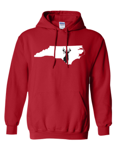 Pullover Hooded Sweatshirt North Carolina Red Whitetail Deer Vibrant Design High Quality Tight Knit Ring Spun Low Maintenance Cotton Printed With The Newest Available Color Transfer Technology