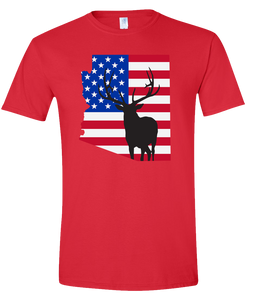 Short Sleeve T-Shirt Arizona Red Elk Vibrant Design High Quality Tight Knit Ring Spun Low Maintenance Cotton Printed With The Newest Available Color Transfer Technology