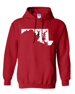 Pullover Hooded Sweatshirt Maryland Red Whitetail Deer Vibrant Design High Quality Tight Knit Ring Spun Low Maintenance Cotton Printed With The Newest Available Color Transfer Technology