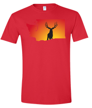 Load image into Gallery viewer, Short Sleeve T-Shirt Washington Red Mule Deer Vibrant Design High Quality Tight Knit Ring Spun Low Maintenance Cotton Printed With The Newest Available Color Transfer Technology