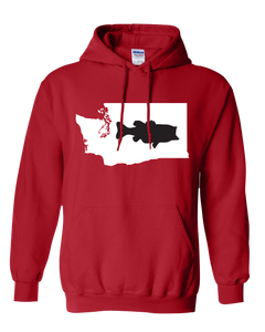 Pullover Hooded Sweatshirt Washington Red Large Mouth Bass Vibrant Design High Quality Tight Knit Ring Spun Low Maintenance Cotton Printed With The Newest Available Color Transfer Technology