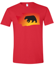 Load image into Gallery viewer, Short Sleeve T-Shirt Washington Red Black Bear Vibrant Design High Quality Tight Knit Ring Spun Low Maintenance Cotton Printed With The Newest Available Color Transfer Technology