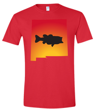 Load image into Gallery viewer, Short Sleeve T-Shirt New Mexico Red Large Mouth Bass Vibrant Design High Quality Tight Knit Ring Spun Low Maintenance Cotton Printed With The Newest Available Color Transfer Technology