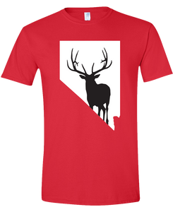Short Sleeve T-Shirt Nevada Red Elk Vibrant Design High Quality Tight Knit Ring Spun Low Maintenance Cotton Printed With The Newest Available Color Transfer Technology