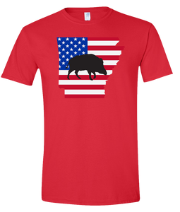 Short Sleeve T-Shirt Arkansas Red Wild Hog Vibrant Design High Quality Tight Knit Ring Spun Low Maintenance Cotton Printed With The Newest Available Color Transfer Technology