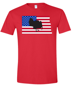 Short Sleeve T-Shirt North Dakota Red Turkey Vibrant Design High Quality Tight Knit Ring Spun Low Maintenance Cotton Printed With The Newest Available Color Transfer Technology
