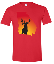 Load image into Gallery viewer, Short Sleeve T-Shirt Georgia Red Whitetail Deer Vibrant Design High Quality Tight Knit Ring Spun Low Maintenance Cotton Printed With The Newest Available Color Transfer Technology