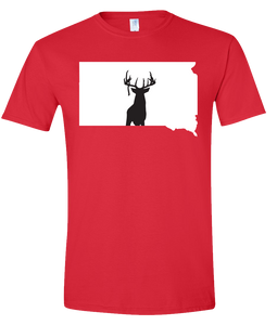 Short Sleeve T-Shirt South Dakota Red Whitetail Deer Vibrant Design High Quality Tight Knit Ring Spun Low Maintenance Cotton Printed With The Newest Available Color Transfer Technology