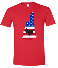 Load image into Gallery viewer, Short Sleeve T-Shirt New Hampshire Red Turkey Vibrant Design High Quality Tight Knit Ring Spun Low Maintenance Cotton Printed With The Newest Available Color Transfer Technology