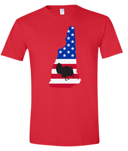 Short Sleeve T-Shirt New Hampshire Red Turkey Vibrant Design High Quality Tight Knit Ring Spun Low Maintenance Cotton Printed With The Newest Available Color Transfer Technology