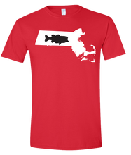 Load image into Gallery viewer, Short Sleeve T-Shirt Massachusetts Red Large Mouth Bass Vibrant Design High Quality Tight Knit Ring Spun Low Maintenance Cotton Printed With The Newest Available Color Transfer Technology
