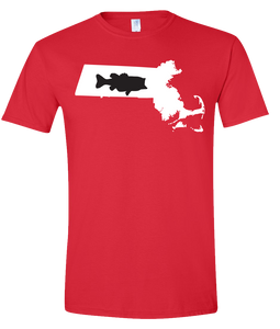 Short Sleeve T-Shirt Massachusetts Red Large Mouth Bass Vibrant Design High Quality Tight Knit Ring Spun Low Maintenance Cotton Printed With The Newest Available Color Transfer Technology