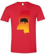 Load image into Gallery viewer, Short Sleeve T-Shirt Mississippi Red Wild Hog Vibrant Design High Quality Tight Knit Ring Spun Low Maintenance Cotton Printed With The Newest Available Color Transfer Technology
