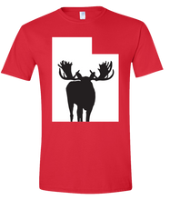 Load image into Gallery viewer, Short Sleeve T-Shirt Utah Red Moose Vibrant Design High Quality Tight Knit Ring Spun Low Maintenance Cotton Printed With The Newest Available Color Transfer Technology