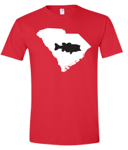 Load image into Gallery viewer, Short Sleeve T-Shirt South Carolina Red Large Mouth Bass Vibrant Design High Quality Tight Knit Ring Spun Low Maintenance Cotton Printed With The Newest Available Color Transfer Technology