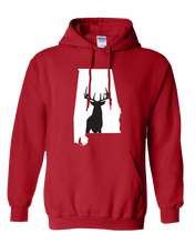 Load image into Gallery viewer, Pullover Hooded Sweatshirt Alabama Red Whitetail Deer Vibrant Design High Quality Tight Knit Ring Spun Low Maintenance Cotton Printed With The Newest Available Color Transfer Technology