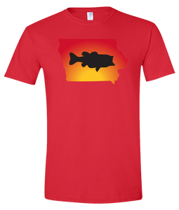 Short Sleeve T-Shirt Iowa Red Large Mouth Bass Vibrant Design High Quality Tight Knit Ring Spun Low Maintenance Cotton Printed With The Newest Available Color Transfer Technology