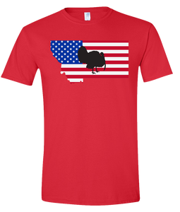 Short Sleeve T-Shirt Montana Red Turkey Vibrant Design High Quality Tight Knit Ring Spun Low Maintenance Cotton Printed With The Newest Available Color Transfer Technology