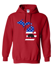 Load image into Gallery viewer, Pullover Hooded Sweatshirt Michigan Red Wild Hog Vibrant Design High Quality Tight Knit Ring Spun Low Maintenance Cotton Printed With The Newest Available Color Transfer Technology