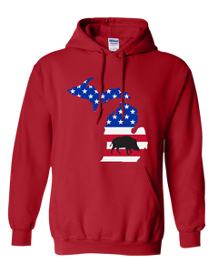 Pullover Hooded Sweatshirt Michigan Red Wild Hog Vibrant Design High Quality Tight Knit Ring Spun Low Maintenance Cotton Printed With The Newest Available Color Transfer Technology