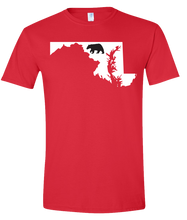 Load image into Gallery viewer, Short Sleeve T-Shirt Maryland Red Black Bear Vibrant Design High Quality Tight Knit Ring Spun Low Maintenance Cotton Printed With The Newest Available Color Transfer Technology