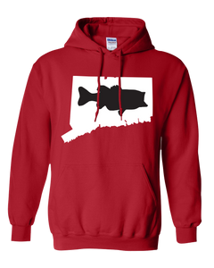 Pullover Hooded Sweatshirt Connecticut Red Large Mouth Bass Vibrant Design High Quality Tight Knit Ring Spun Low Maintenance Cotton Printed With The Newest Available Color Transfer Technology