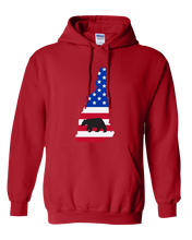 Load image into Gallery viewer, Pullover Hooded Sweatshirt New Hampshire Red Black Bear Vibrant Design High Quality Tight Knit Ring Spun Low Maintenance Cotton Printed With The Newest Available Color Transfer Technology