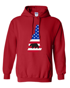 Pullover Hooded Sweatshirt New Hampshire Red Black Bear Vibrant Design High Quality Tight Knit Ring Spun Low Maintenance Cotton Printed With The Newest Available Color Transfer Technology